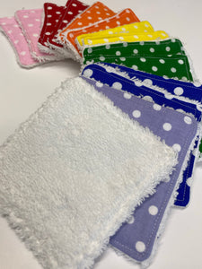 Rainbow Re-usable cotton wipes, 3 sizes available, FREE POSTAGE - Butterfly Crafts