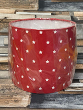 Load image into Gallery viewer, SALE LAMPSHADE OR CEILING SHADE - RED STARS 20CMS - Butterfly Crafts