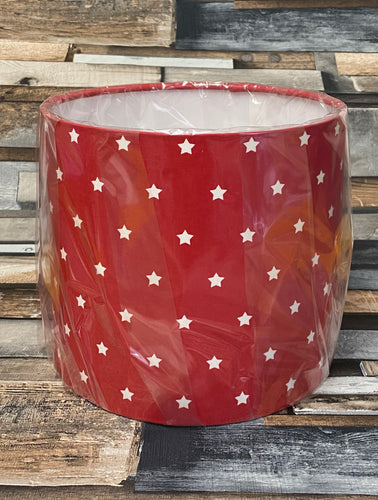 SALE LAMPSHADE OR CEILING SHADE - RED STARS 20CMS - Butterfly Crafts