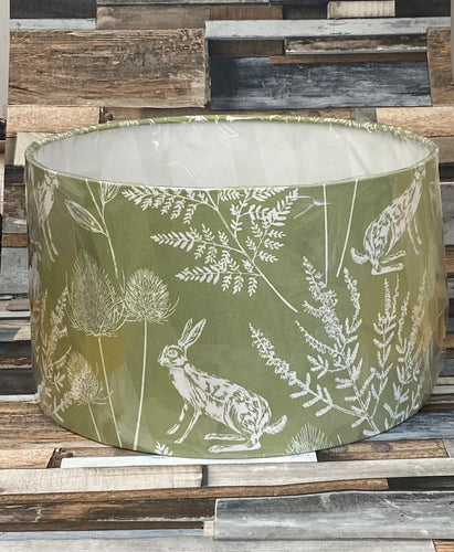 SALE - LAMPSHADE - GREEN COUNTRY HARES 35CMS - Butterfly Crafts