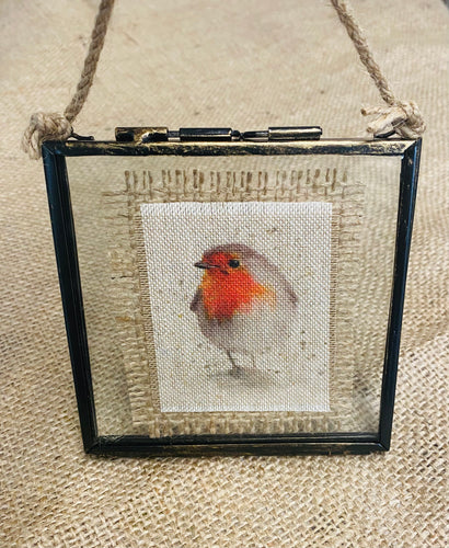 Fabric Picture Robin, in metal and glass square frame - Butterfly Crafts