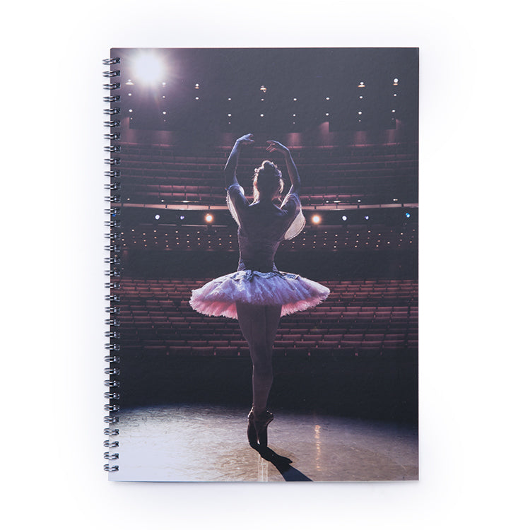 12014 - QB Tutu on Stage Spiral A4 Lined Notebook