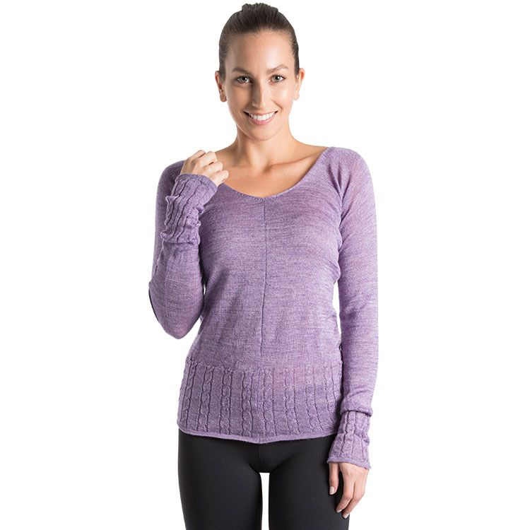 Z0113 – Bloch Carezza Cable Knit Womens V Sweater