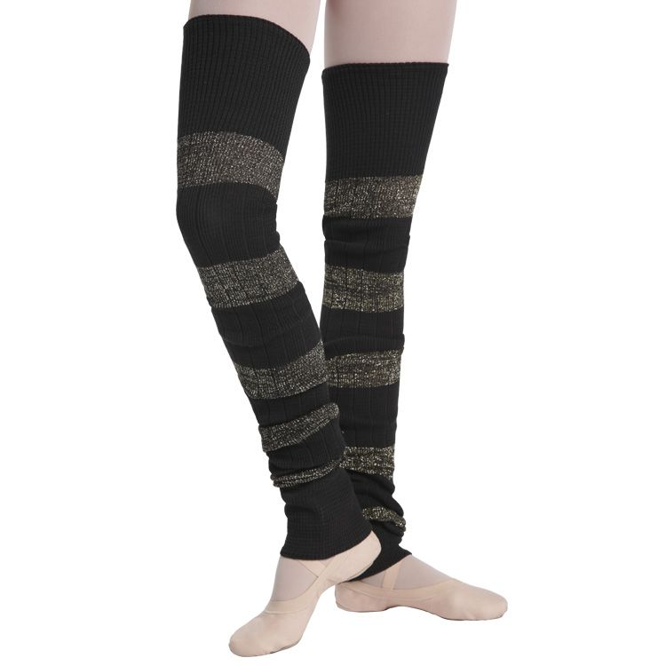 A0108SP - Bloch Lurex Stripe Long Ribbed Legwarmers
