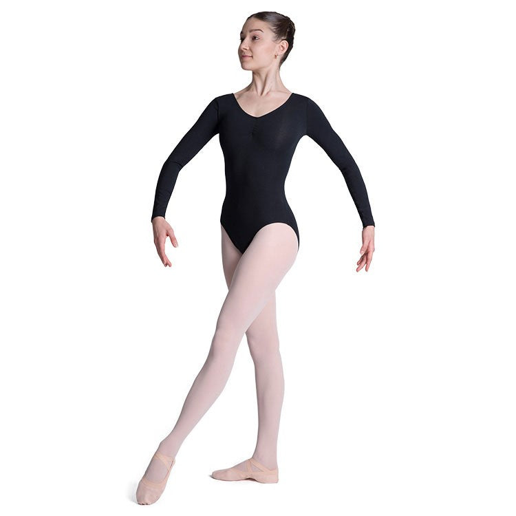 L0459 - Bloch Parla Gathered Long Sleeve Womens Leotard
