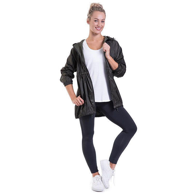 JST014 – Bloch Studio Longline Luxe Zip Through Hooded Long Sleeve Jacket