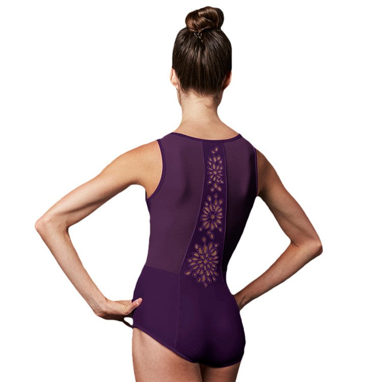 LJ57211 – Jozette Mesh Panelled Bodice & Embroidered Florette Back Womens Leotard