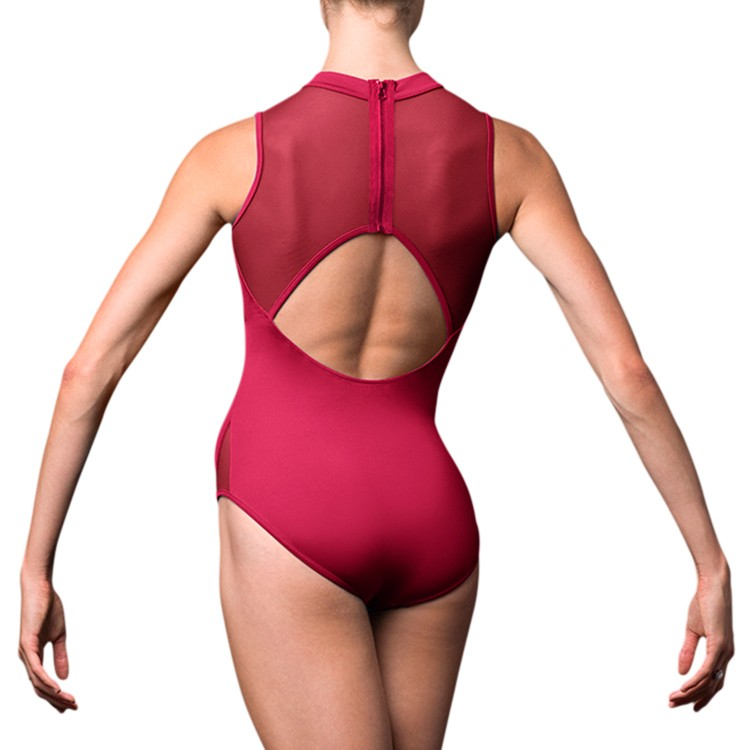 LJ57213 – Jozette High Neck & Embroidered Florette Front Womens Leotard