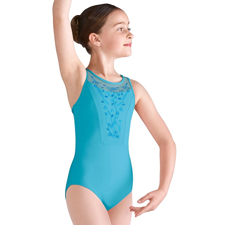 600afb67f01 LM5364G – Mirella Twin Layer Embroidered Blossom Mesh Front Girls Tank  Leotard