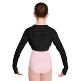 Z55519G - Bloch Rosesia Textured Knit Long Sleeve Girls Cropped Shrug