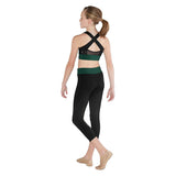 ZBM5248G - Bloch Cross Back Contrast Band X Detail Girls Crop Top