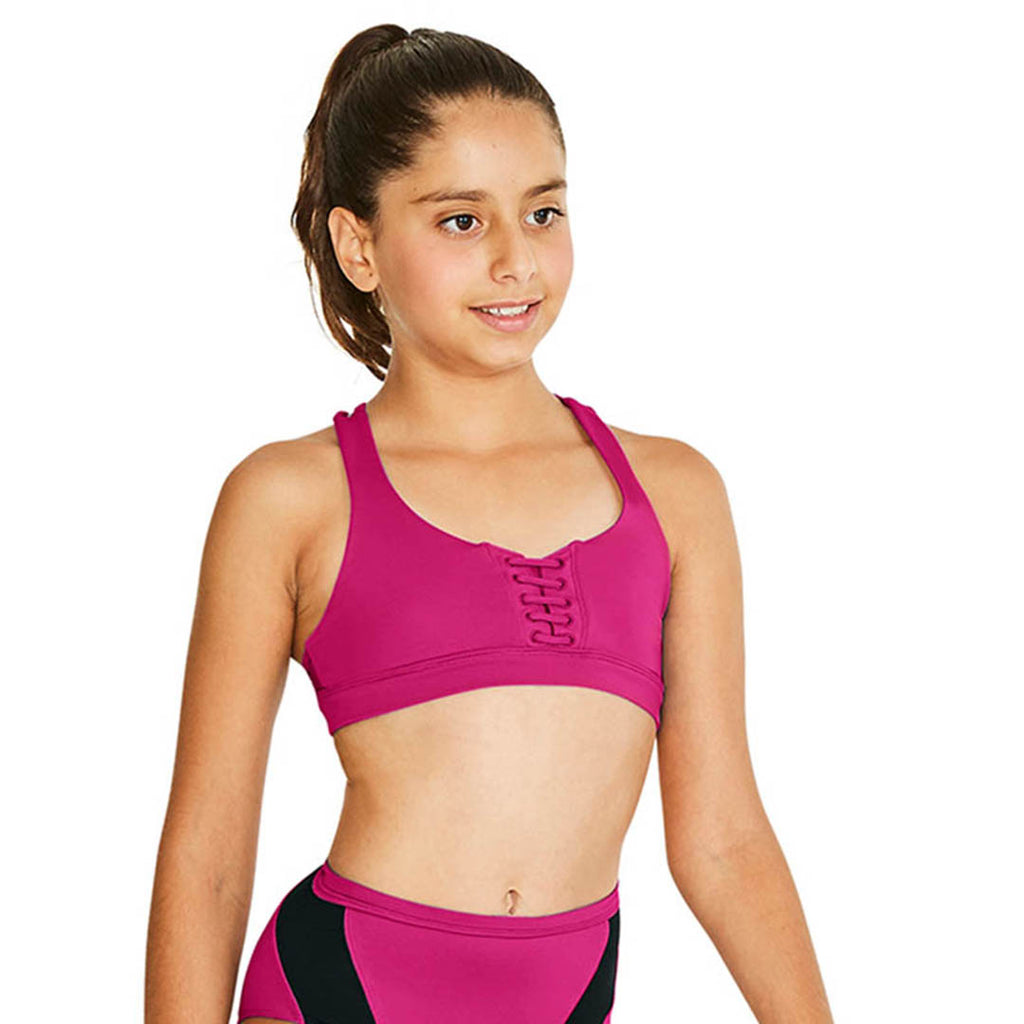 ZS55130G - Bloch Fiji Lace Up Front & Cross Back Girls Crop Top