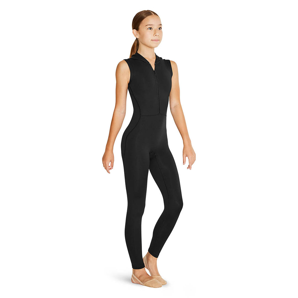 US55131G - Bloch Feliz Zip Front Hooded Open Back Girls Unitard