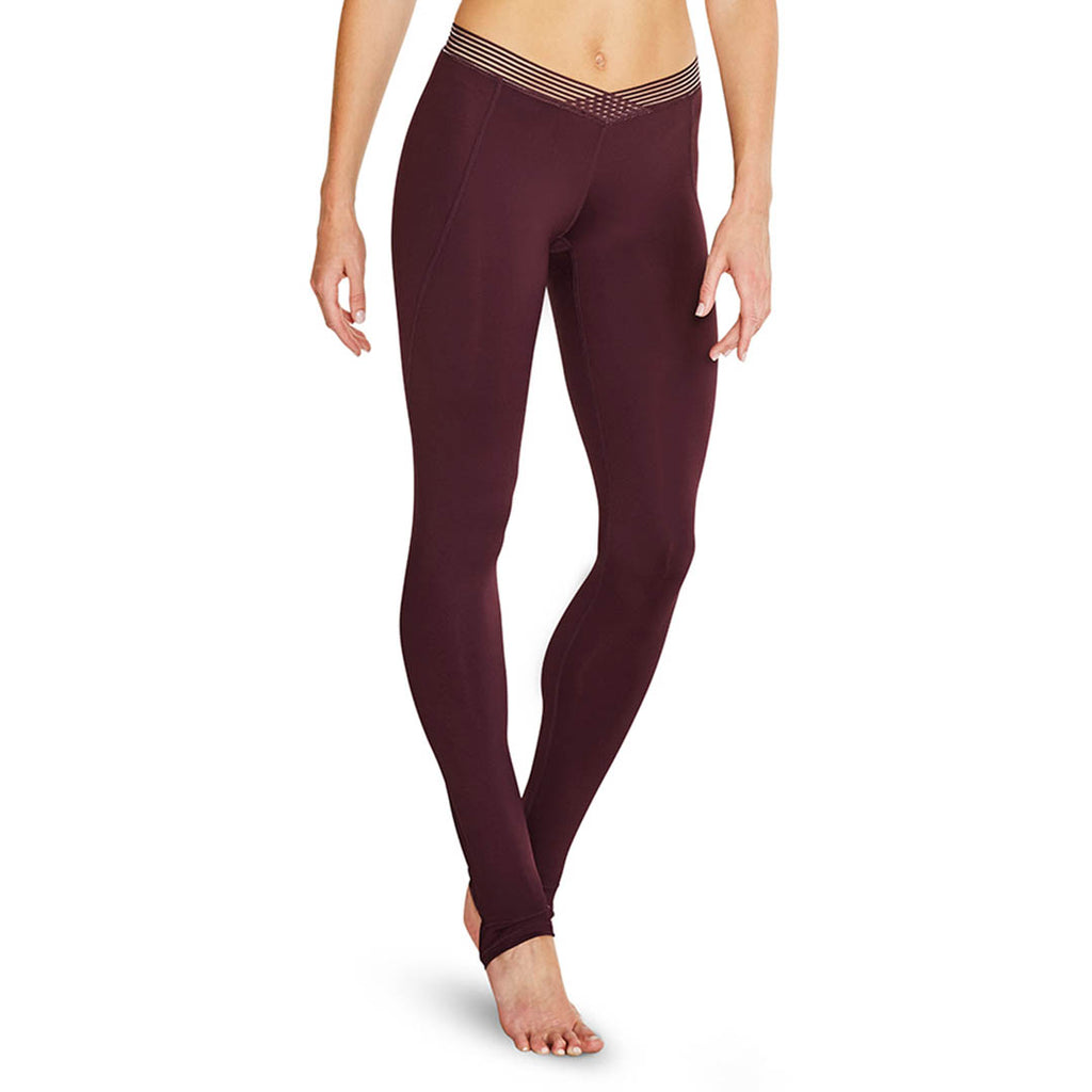 TS55099 - Bloch Distinction Stripe Elastic V Waist Full Length Womens Stirrup Legging