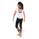 ZBM5246G - Bloch Flock Print Cross Back Girls Short Sleeve T-Shirt