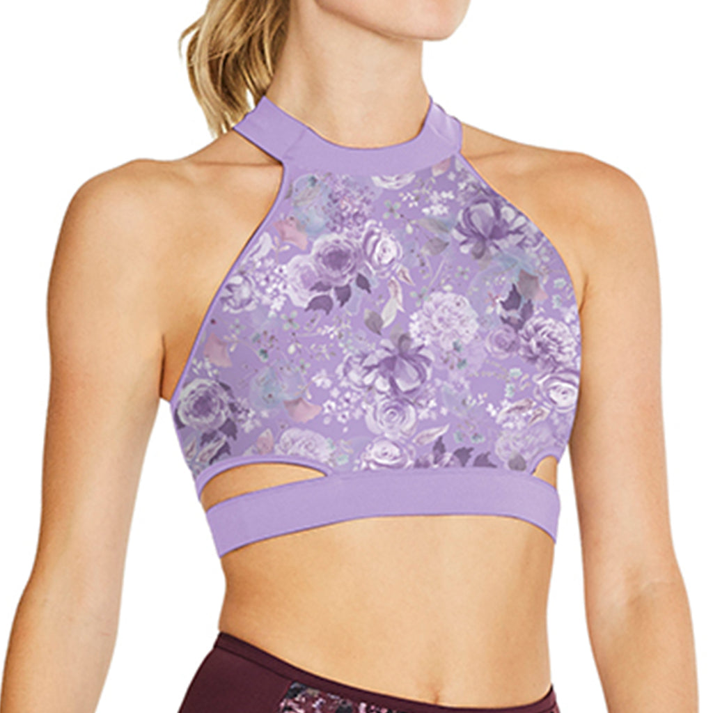 ZS55093 - Bloch Nikaila Floral Printed Mesh High Neck Womens X Back Crop Top