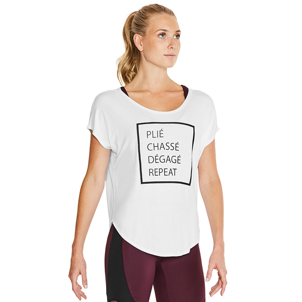 ZS55112 - Bloch Hazy Slogan Printed Scooped Back Womens Tee