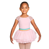 L57842G - Bloch Mabel Gelato Stripe Waistband Girls Cap Sleeve Tutu Dress
