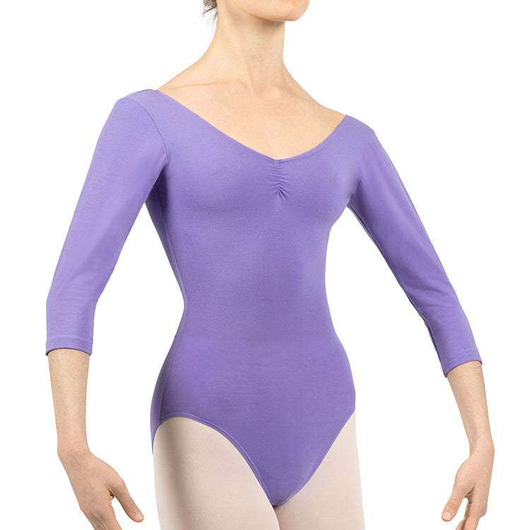 L0439 - Bloch Page Gathered ¾ Sleeve Womens Leotard