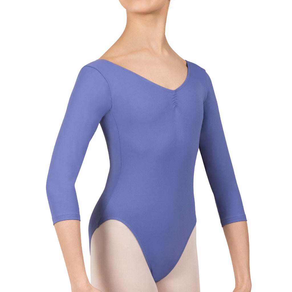 L3839LI - Bloch Microlux™ Nora Gathered Front & Back Womens ¾ Sleeve Leotard