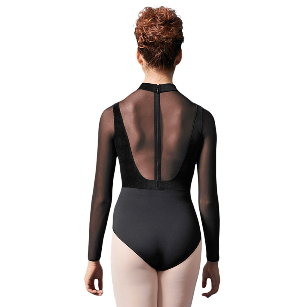 LM51015 - Mirella Velvet Bodice Zipper Back Womens Long Sleeve Leotard