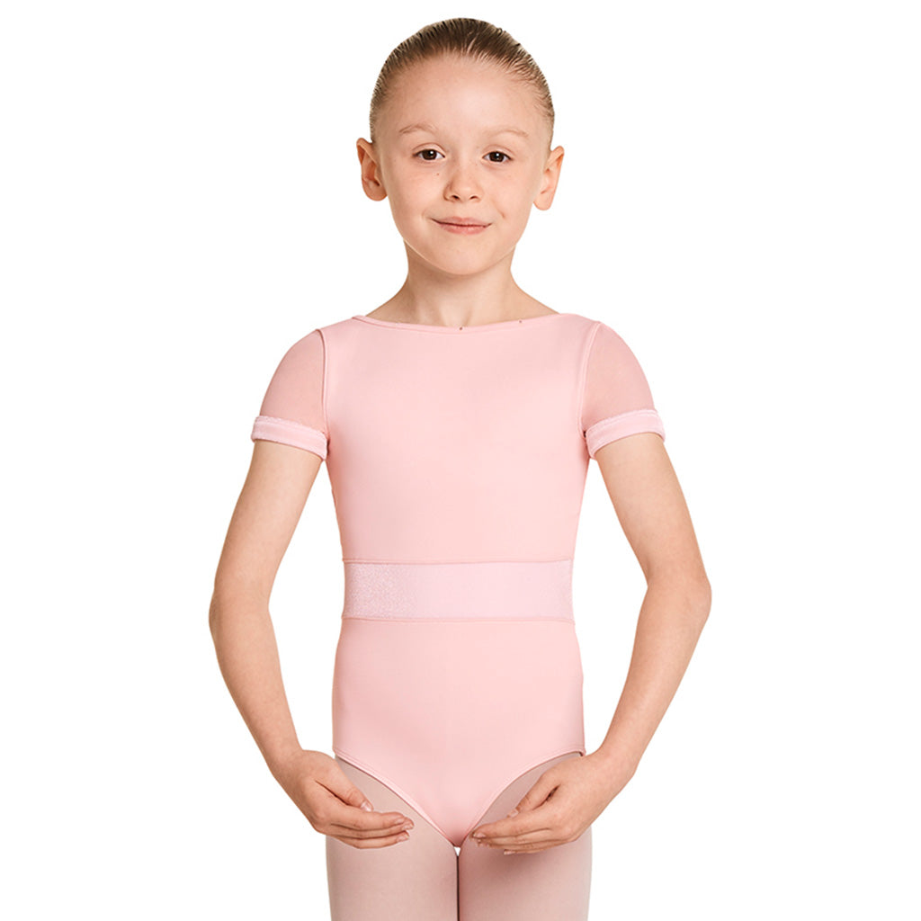 LM51524G - Mirella Velvet Waistband Girls Cap Sleeve Leotard