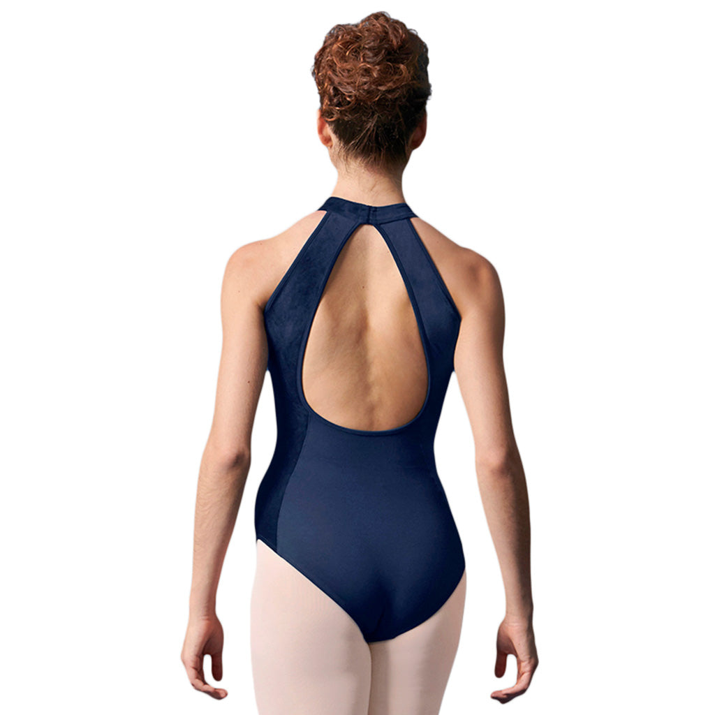 LM53076TW - Mirella Velvet Panel Open Back Girls Tween Halter Neck Leotard