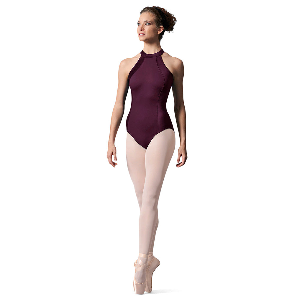 LM53076 - Mirella Velvet Panel Open Back Womens Halter Neck Leotard