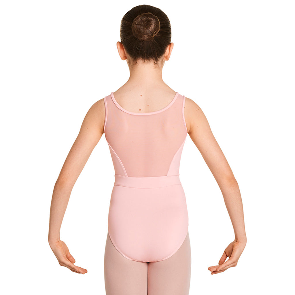 LM5457G - Mirella Velvet Bodice Diamante Neck Girls Tank Leotard