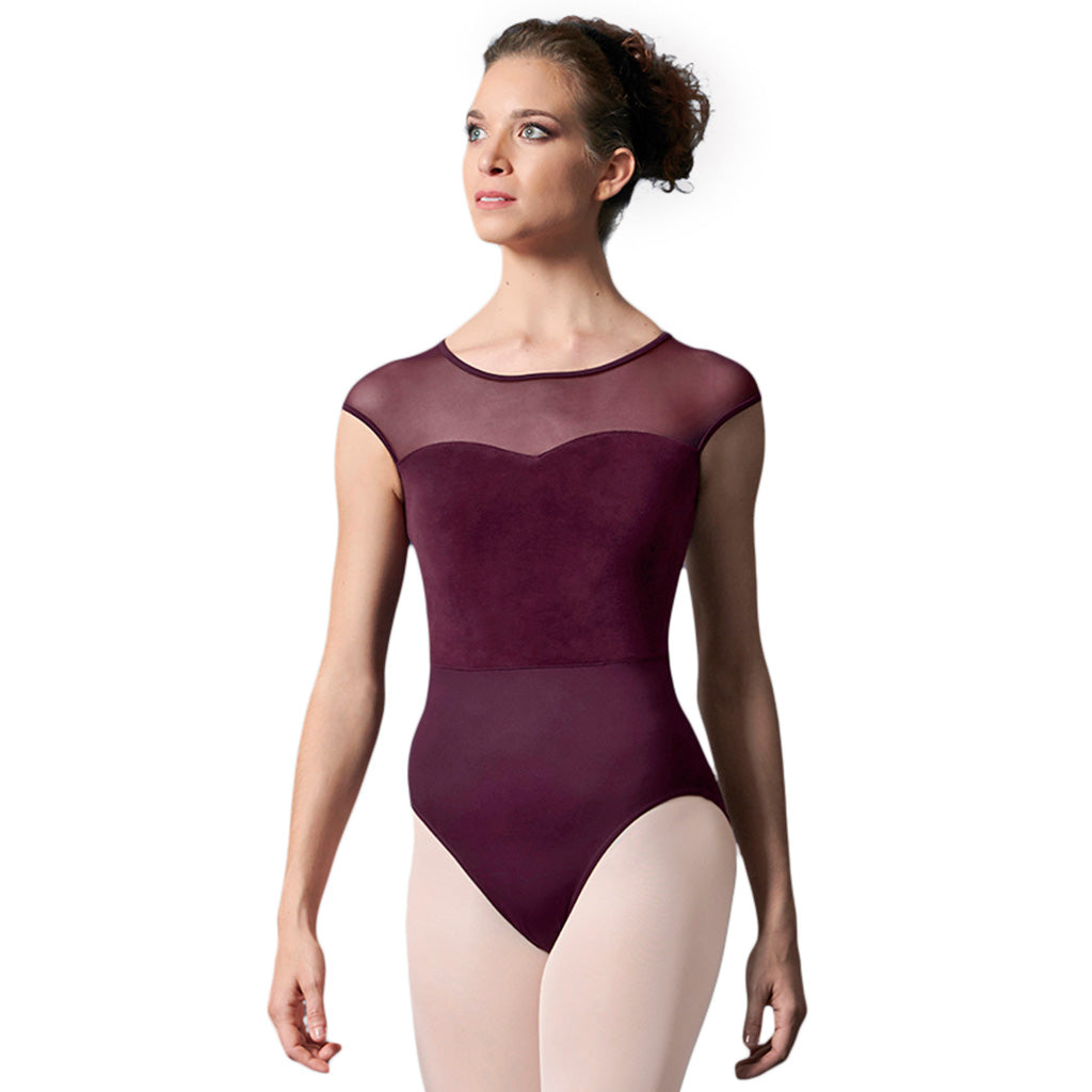 LM55077 - Mirella Velvet Bodice Open Bow Back Womens Cap Sleeve Leotard