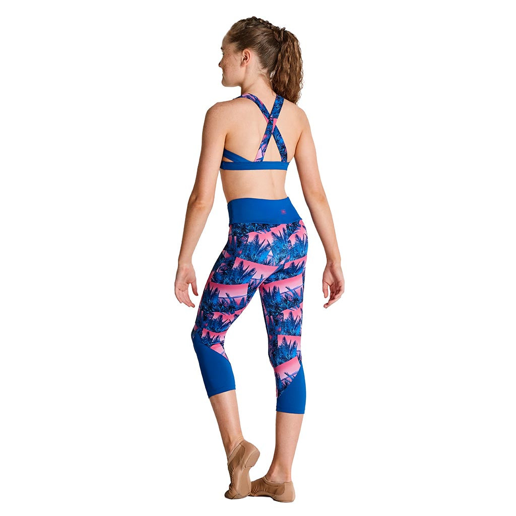 TK5037G - Kaia Printed Palm Contrast Panel Girls Capri Legging