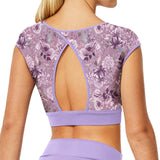 ZP53522 - Bloch Grecia Floral Printed Open Back Womens Performance Crop Top