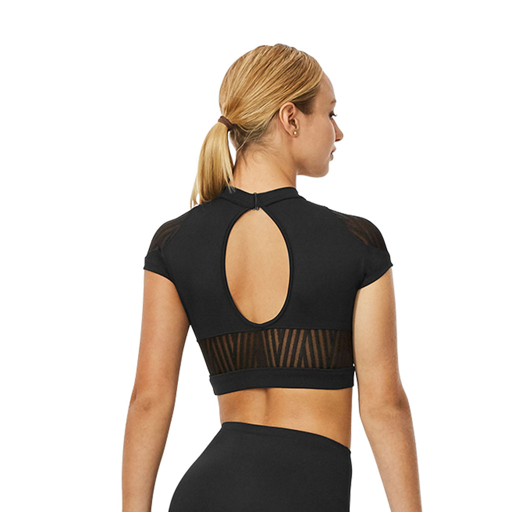 ZP53532 - Bloch Fallen Abstract Stripe Mesh Cap Sleeve Womens Performance Crop Top