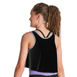 ZK5046G - Kaia 'DANCE' Printed Contrast Bind Girls Tank Top