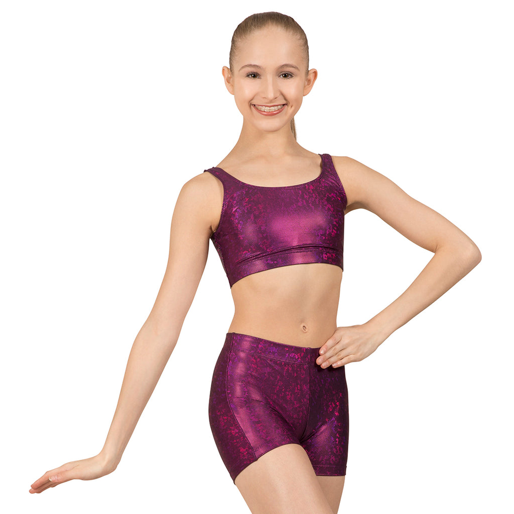 ZL5128 - Leo Purple Disco Foil Scoop Neck Tank Crop Top