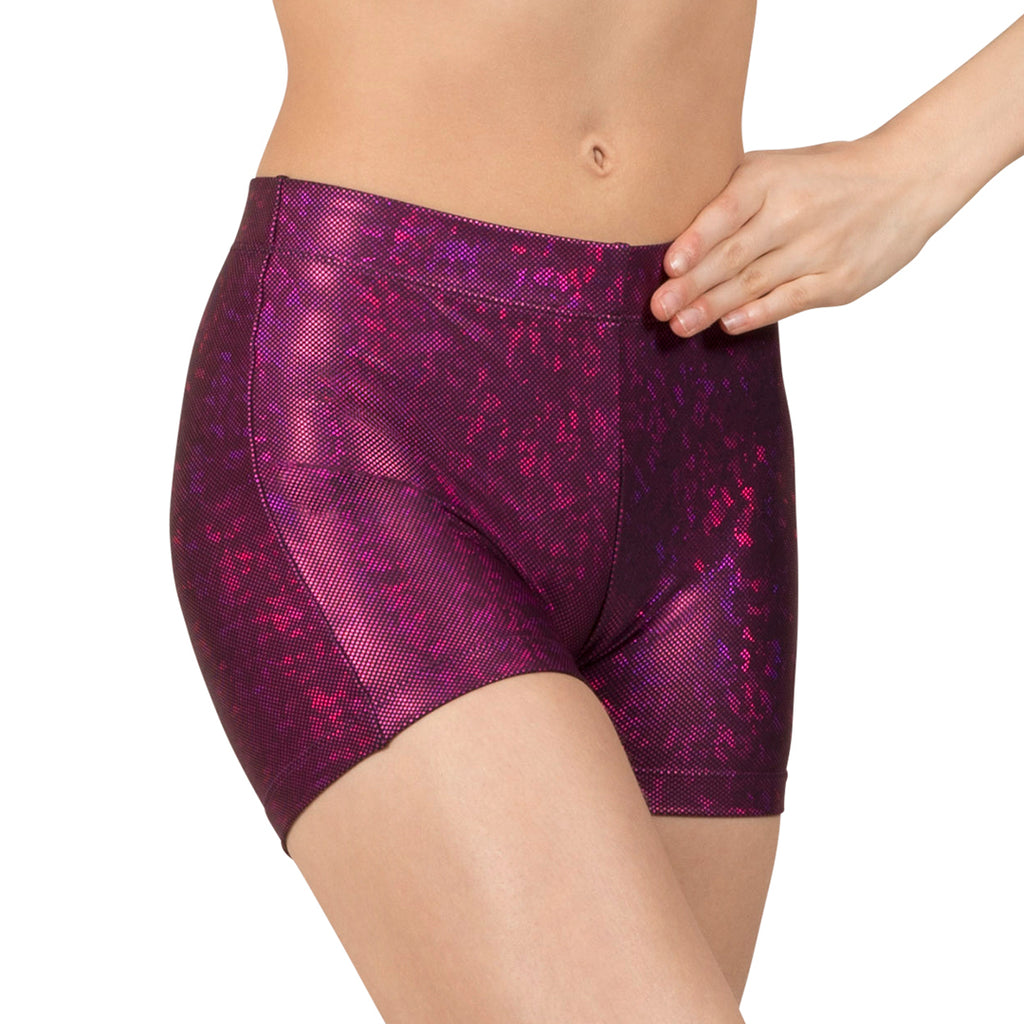 DL5129 - Leo Purple Disco Foil Fitted Micro Short