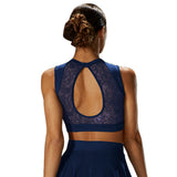 ZMP57045 - Mirella Lace High Neck Open Back Womens Crop Top