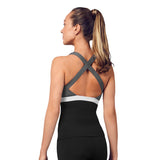 ZS55197 - Bloch Colour Panelled Scoop Neck Cross Back Womens Top