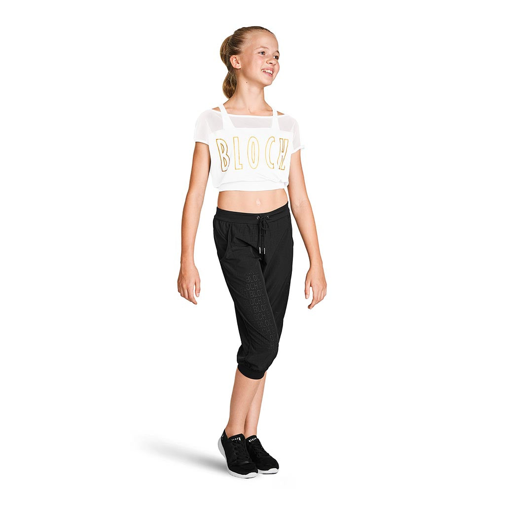ZS55219G - Bloch Crop Mesh Girls Logo Tee