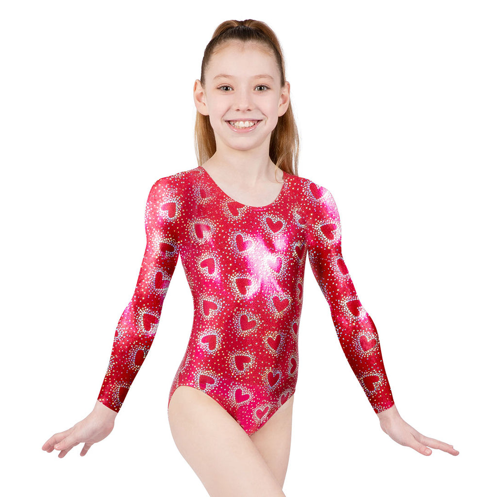 L0209FG - Bloch Heart Foil Long Sleeve Girls Gymnastics Leotard