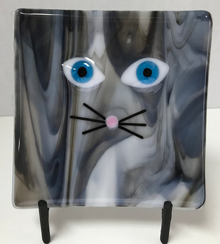Plate - Cat Grey Streaky