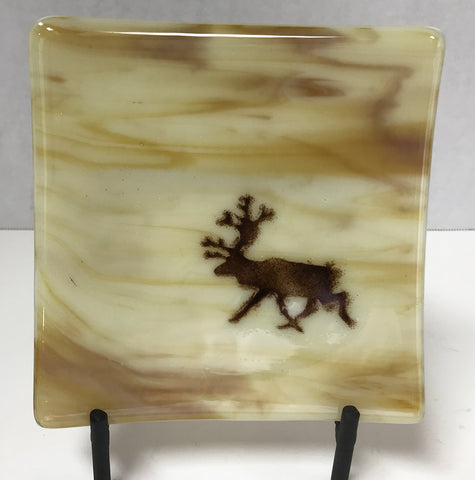 Plate - Light Brown with Caribou