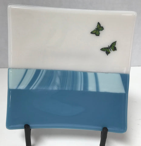 Plate - Blue Stripe with Butterflies