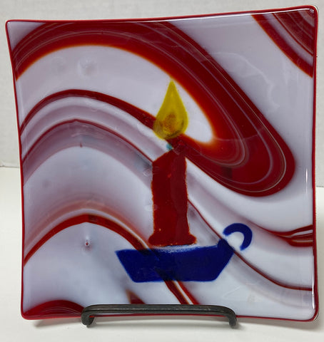 Plate - Red Streaky with Candle