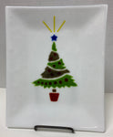 Tray - White with Christmas Tree