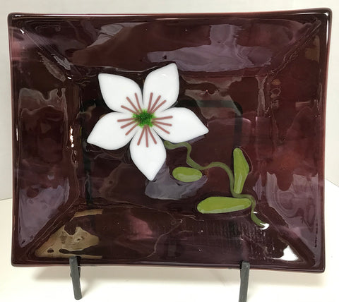 Tray - Purple with Flower