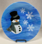 Plate - Blue Snowman with Flakes