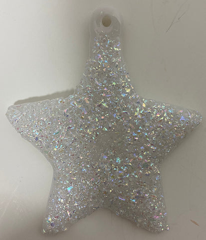Vintage - White Sparkle  Star