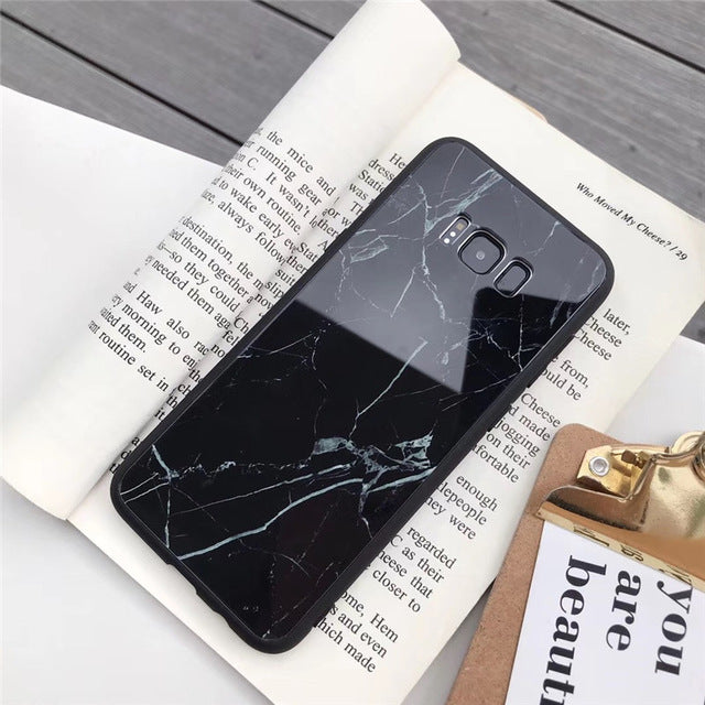 Tempered Glass Marble Samsung Case