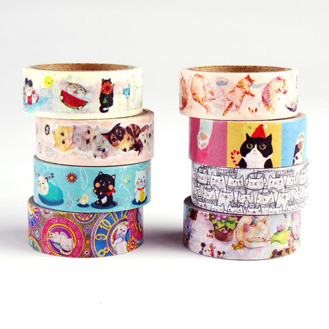 Kawaii Cat Washi Tape (Set of 8)